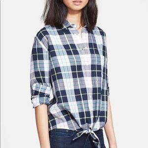 Equipment Daddy Groundwork Plaid Tie Front Blouse